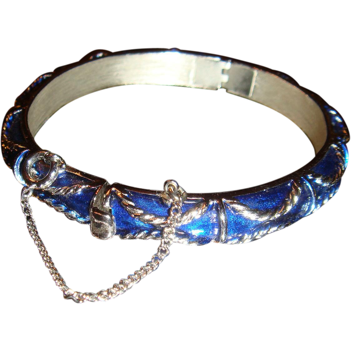 Vintage Trifari Hinged Cobalt Blue Enameled Bracelet With Safety Chain Braided Design