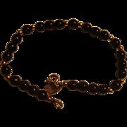 Designer Signed Les Bernard Vintage Beaded Bracelet Faux Onyx and Golden Spacers