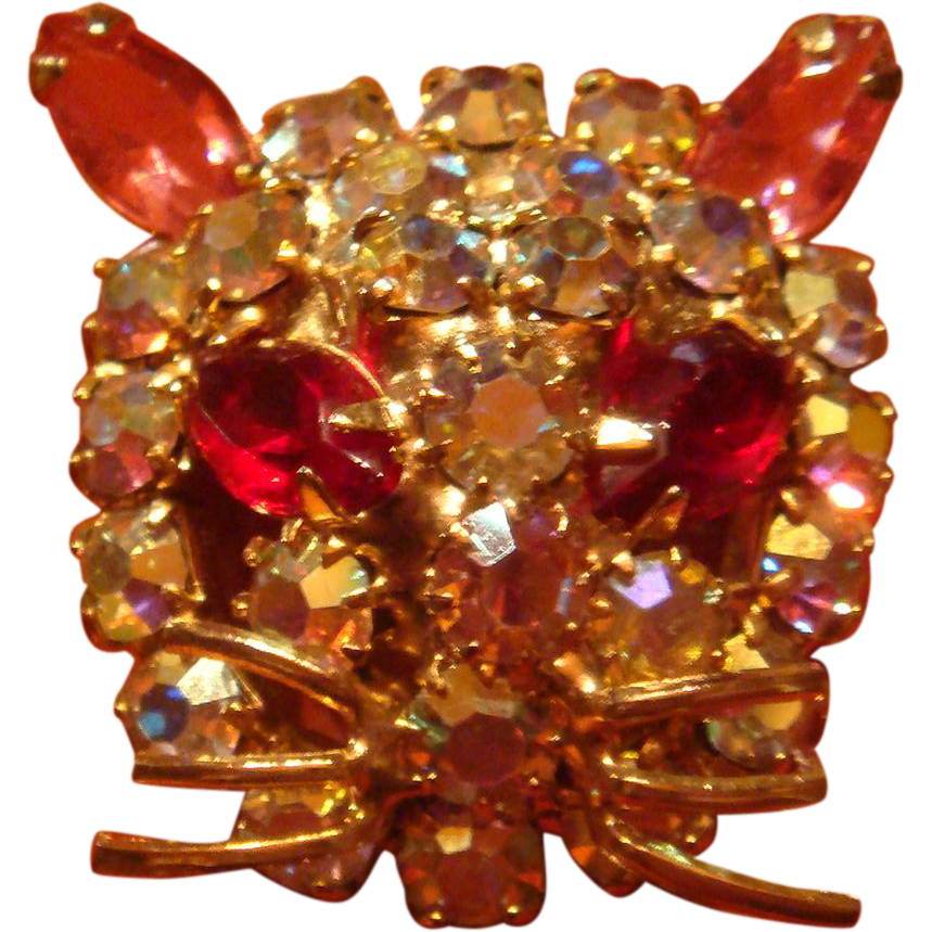 Figural Kitty Cat Face Brooch Pin Prong Set Aurora Borealis Pink and Red Marquise Eyes and Ears