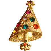 Christmas Tree Pin Book Piece Brooch Glimmering Starlight Rhinestones