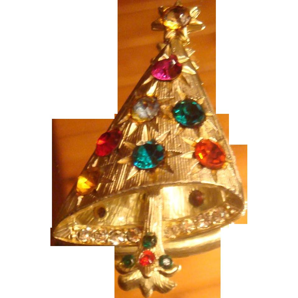 Christmas Tree Pin Book Piece Brooch Glimmering Starlight Rhinestones