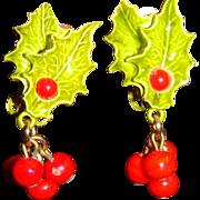 Vintage Christmas Enameled Holly Leaves and Dangling Berries Clip on Earrings