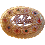 Celluloid Rhinestone Mother Pin Brooch C Clasp 1930's-40's