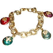 1960's Clunky Double Link Charm Bracelet Enameled Charms