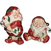 1990 Fitz and Floyd Whimsical Santa Salt and Pepper Shakers