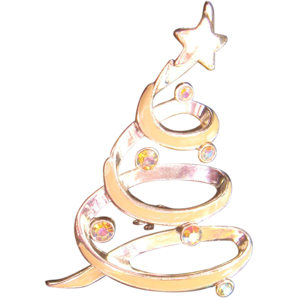 LIA Lianna Modernist Silvertone and Enameled Swirling Christmas Tree Pin Brooch