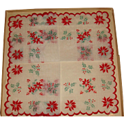 Vintage Organdy Christmas Boxed Hankie Embroidered Edges Fuzzy Feel