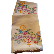 Vintage Blessings Scroll, Rosary, Candle, Flowers Embroidered Pillowcases Pair