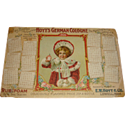 1900 Calendar Hoyt's German Cologne Ladies Blotter Adorable Child Hat, Muff, Fur