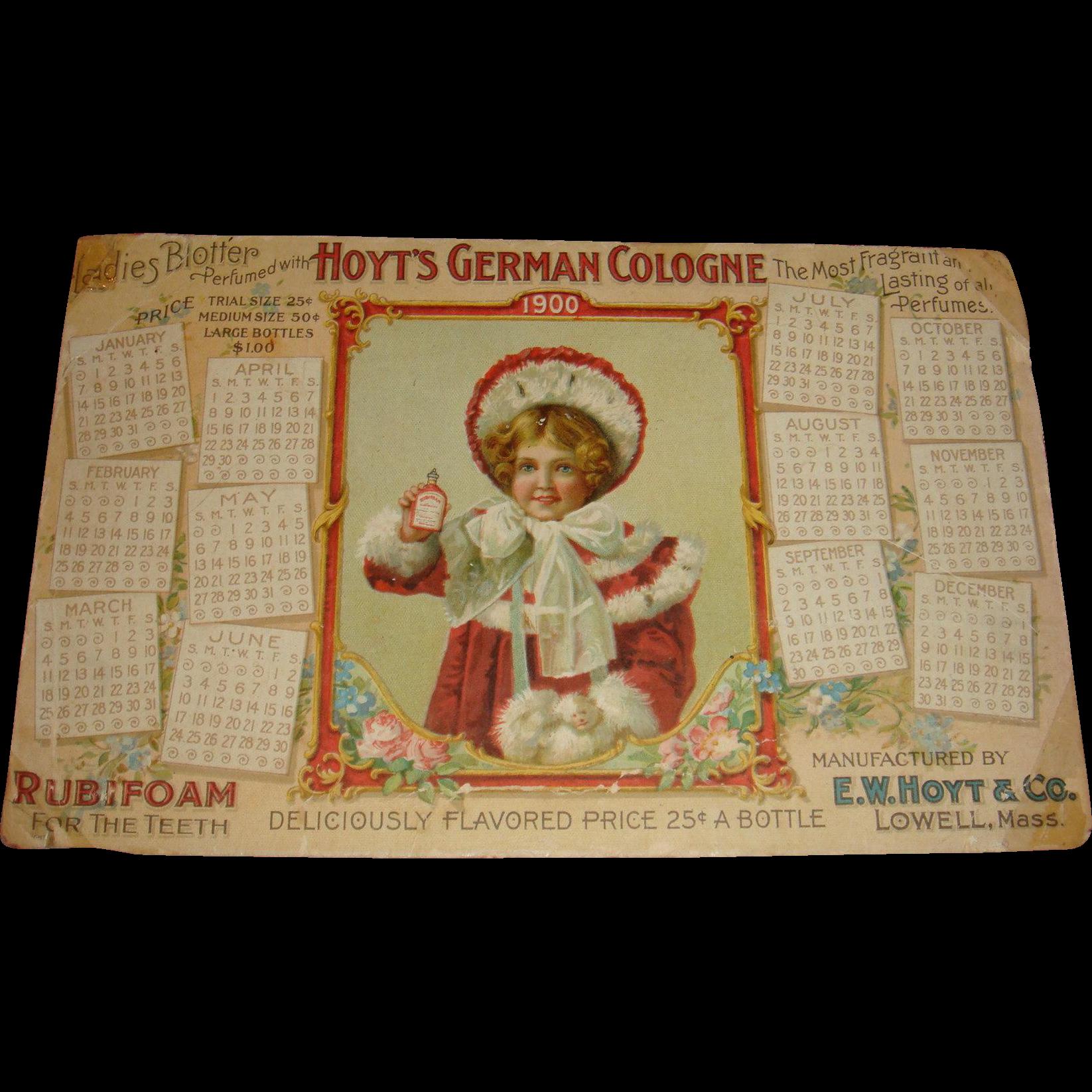 1900 Calendar Hoyt's German Cologne Ladies Blotter Adorable Child Hat, Muff, Fur