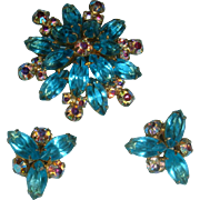 Vintage Aqua Marquise Aurora Borealis Brooch Earrings Set KY Estate