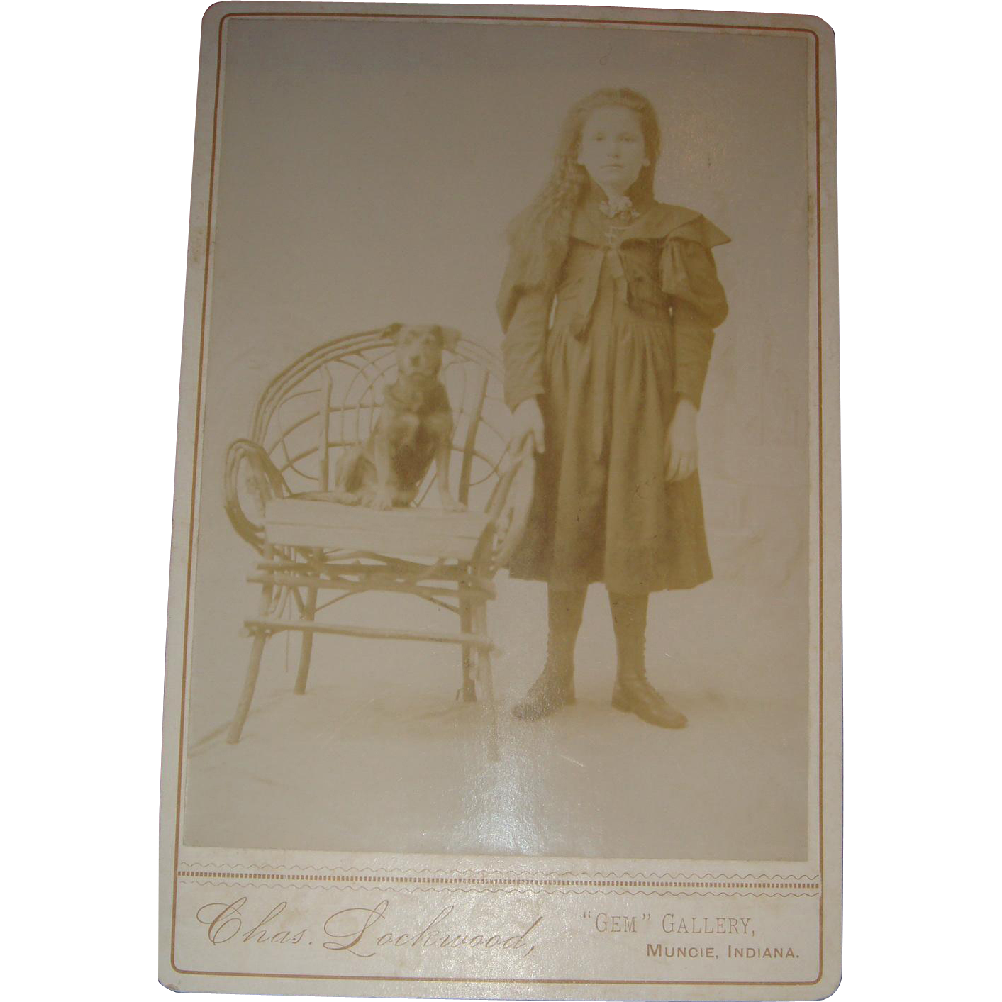 Little Girl and Her Dog Twig Chair Cabinet Card Muncie, Indiana