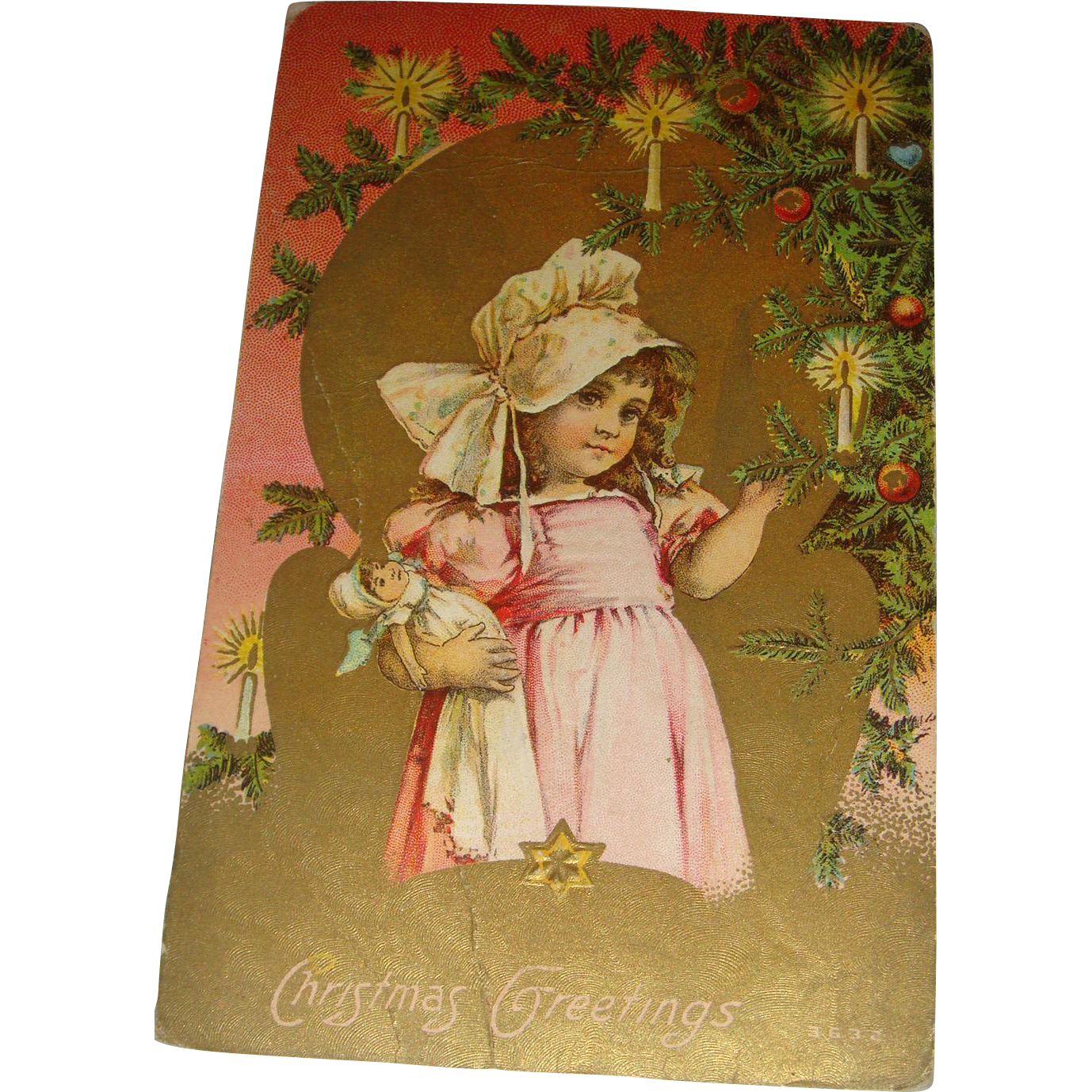 Embossed Victorian Era Christmas Postcard Little Bonnet Girl With Her Doll Gold Gilt