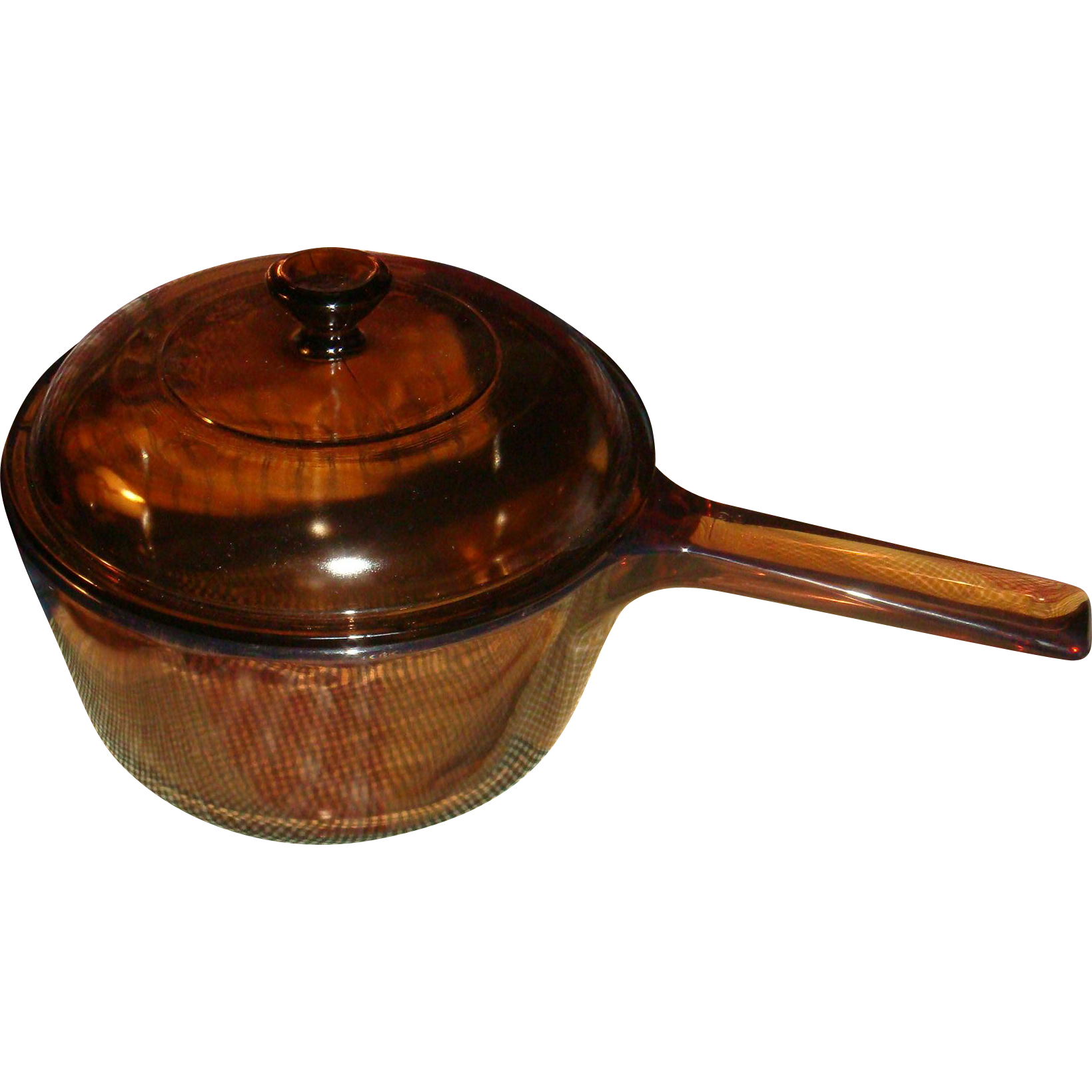 Corning Ware Pyrex Visions Cookware Saucepan With Lid 1.5 L Amber Glass Collectible