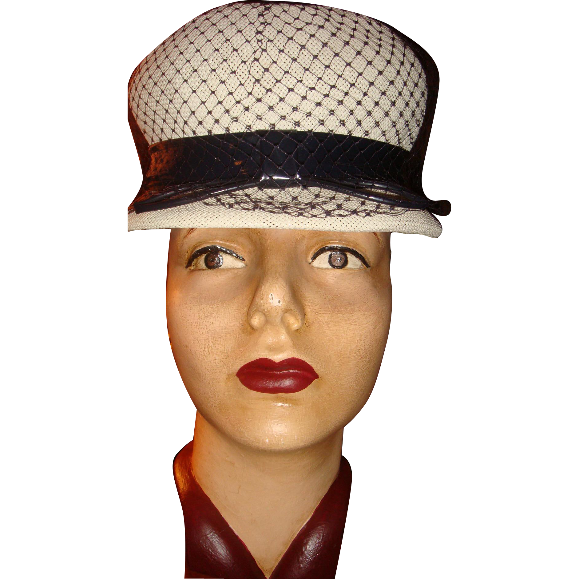 Navy White Spectator Cloche Hat Patent Leather, Diamond Design Netting, Tightly Woven Straw, U.S. Made