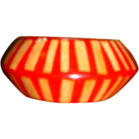 Bold Red Kenneth Lane Wide Orbit Style Reverse Carved or Painted Stripes Lucite Bracelet