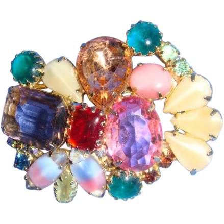 Multicolor Brooch Faceted Rhinestones, Cabochons, Art Glass Prong Set Varied Shapes and Sizes