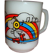 Anchor Hocking Fire King Snoopy Skater Waltz Rainbow Mug, Shulz, 1958 United Feature Syndicate, Inc.