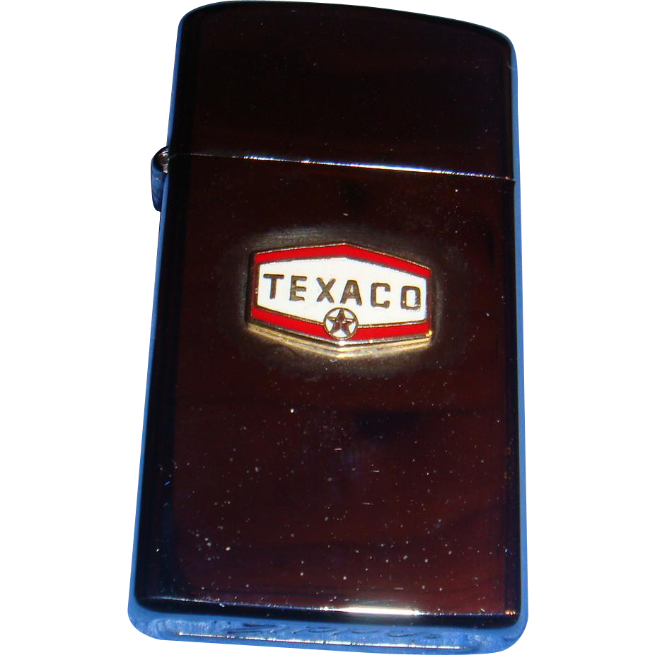 Slim Line Zippo Texaco Advertising Vintage Lighter Like New Flip Top