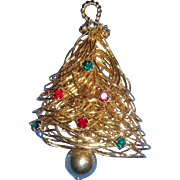 Modernist Wire and Rhinestones Christmas Bell Pin Brooch Articulated Striker