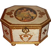 Unmarked Florentine Octagon Music Jewelry Box Bun Feet Children Fleur de Lis