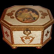 Unmarked Florentine Octagon Music Jewelry Box Bun Feet Children Fleur de Lis