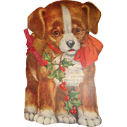 Old Ephemera Embossed Die Cut Stubby Dog Christmas Card Book 8 1/2 Inches Tall