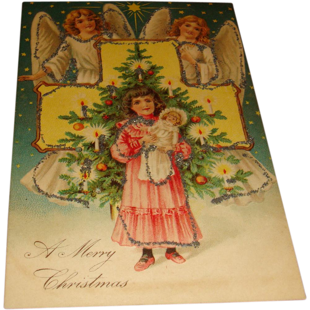 Early Embossed Christmas Postcard Two Angels, Cross, and Little Girl With Doll