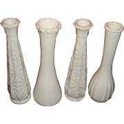 4 Milk Glass Bud Vases Carr Lowery, Starburst, Ribbed, Ruffled
