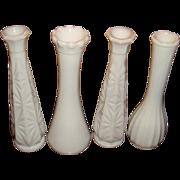 4 Milk Glass Bud Vases Carr Lowery, Starburst, Ribbed, Ruffled