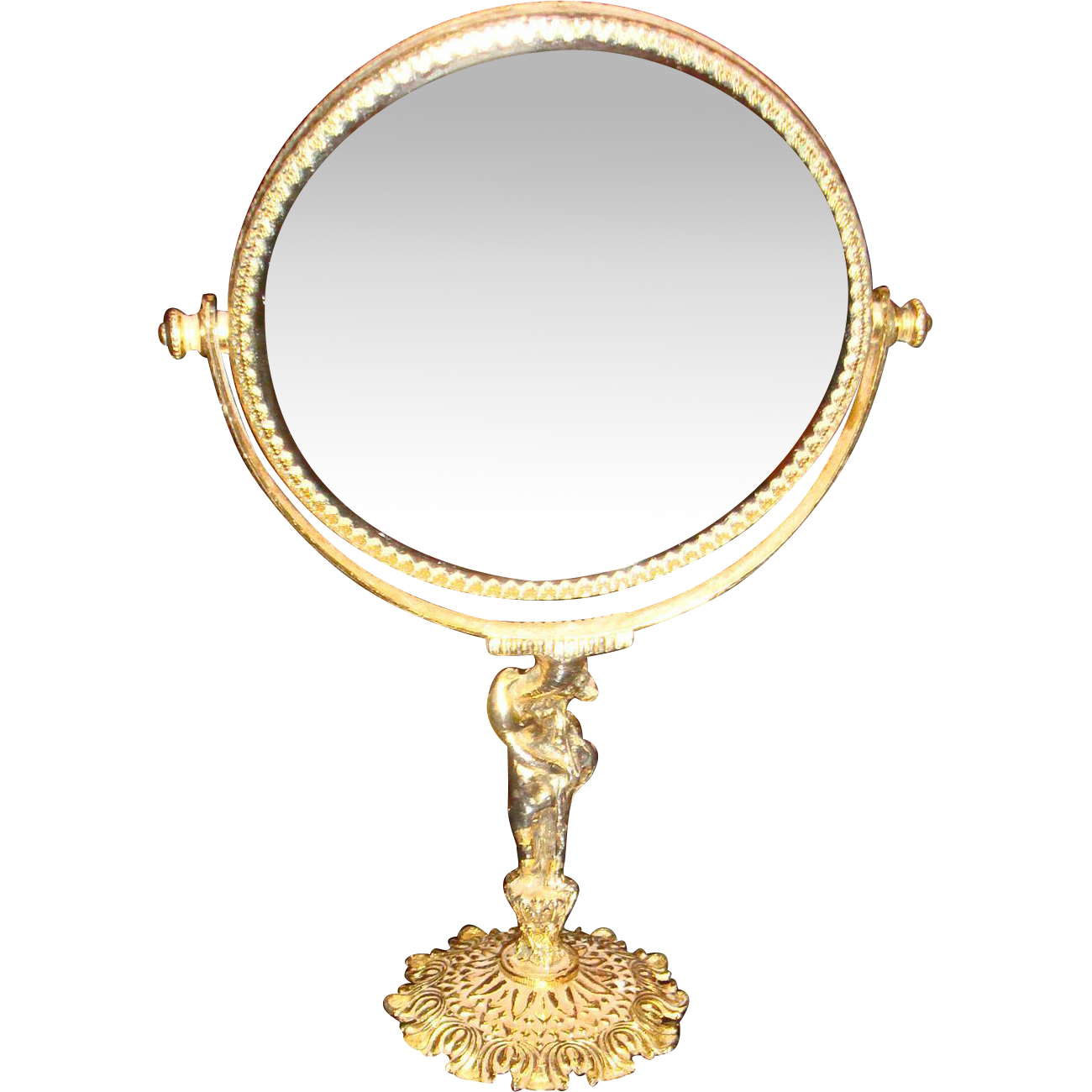 Vintage ormolu beveled vanity mirror on figural stand from for Mirror stand