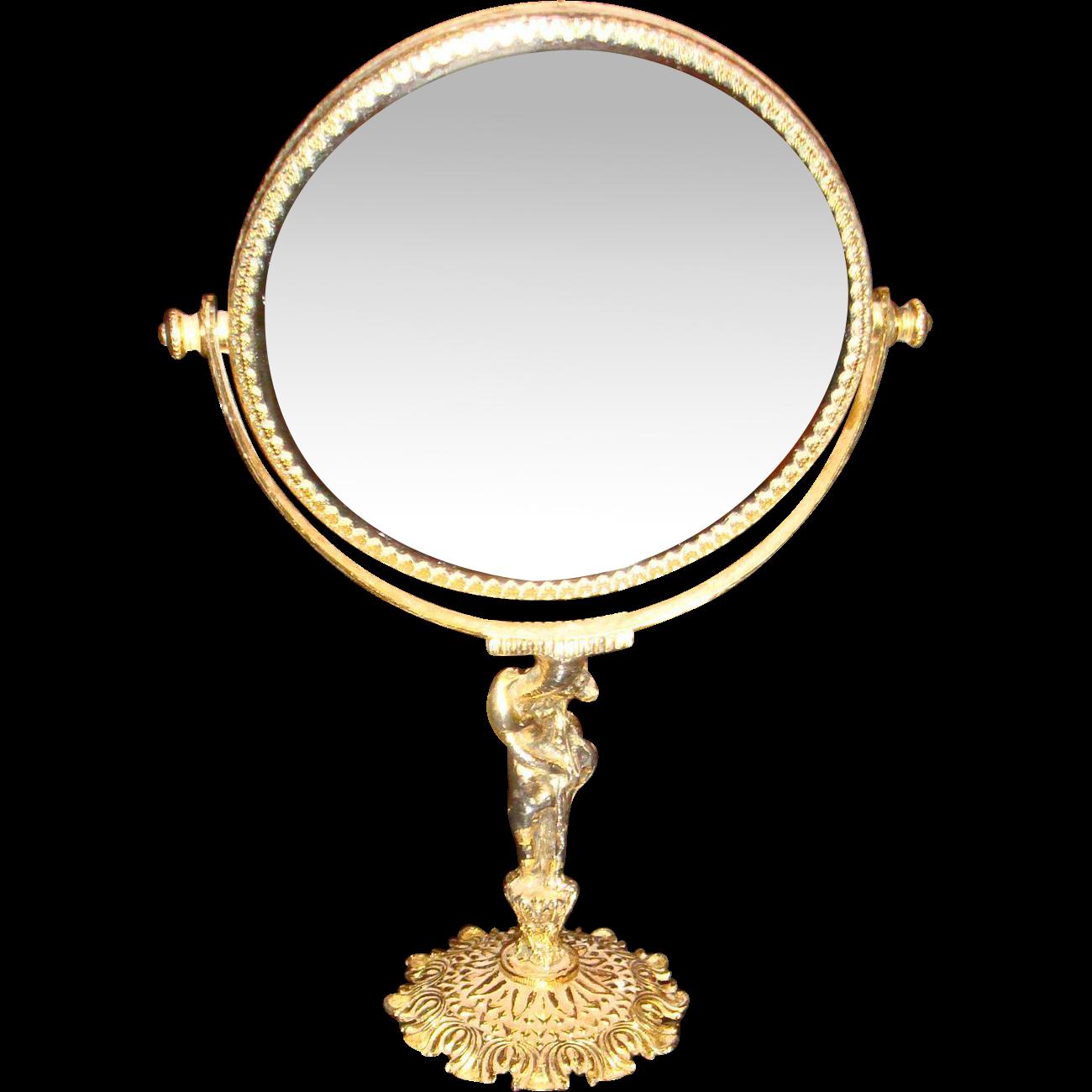 Vintage Ormolu Beveled Vanity Mirror on Figural Stand