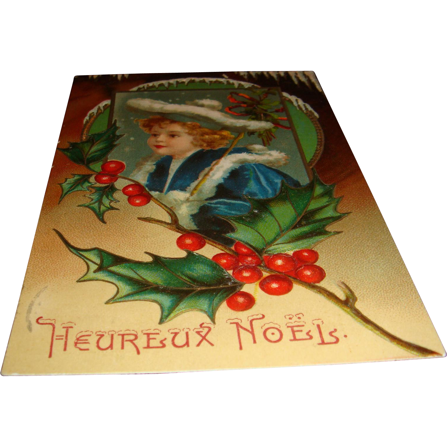 Early 1900's French Embossed Postcard Heureux Noels White Fur Trim Hat and Blue Coat