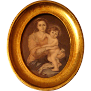 Madonna and Child Esteban Murillo Print of 1650 Portrait Gold Gilt or Gesso Wooden Florentine Frame