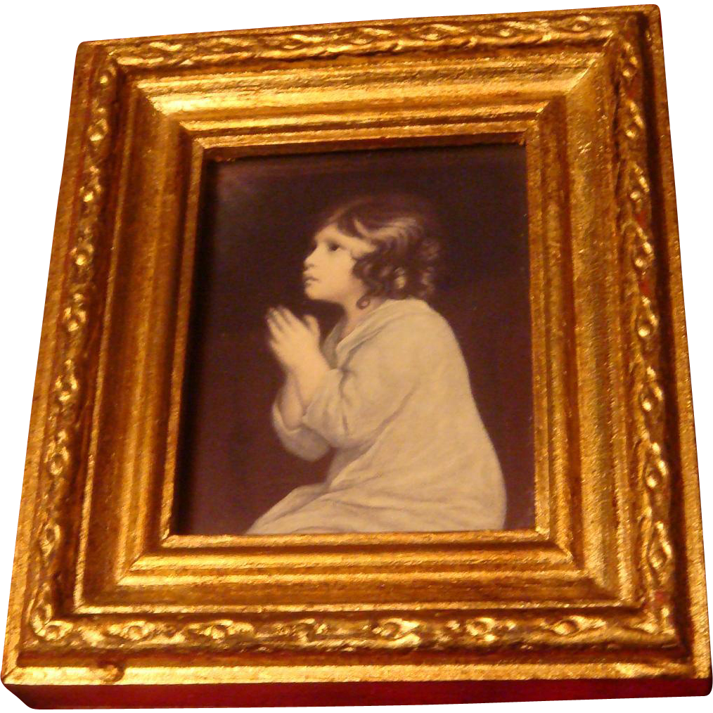 The Infant Samuel Praying Religious Print from 1776 Joshua Reynolds Gold Gesso or Gilt Italy