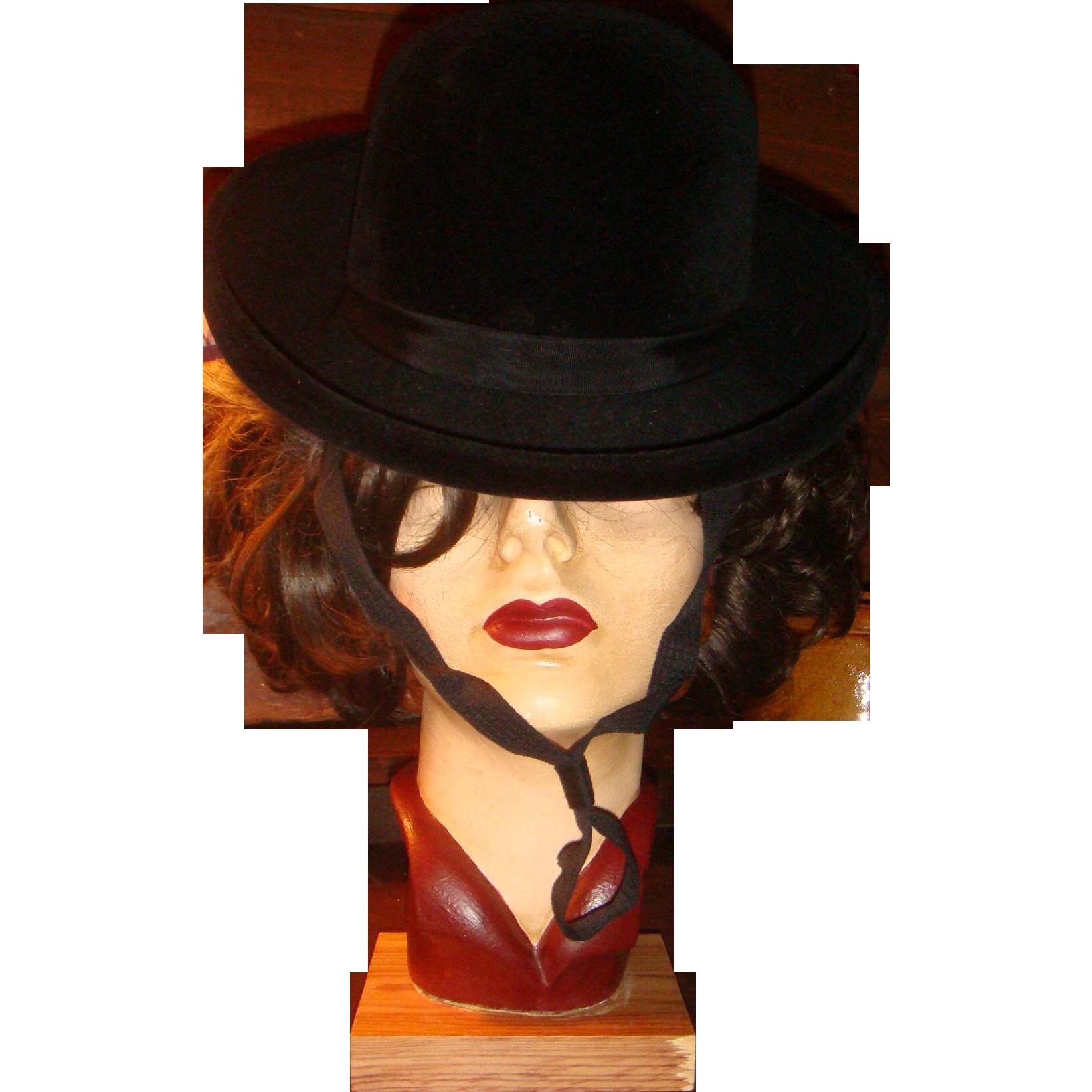 Vintage Black Velvet or Velour Hat Cotillion Made in France Miss Eileen Original