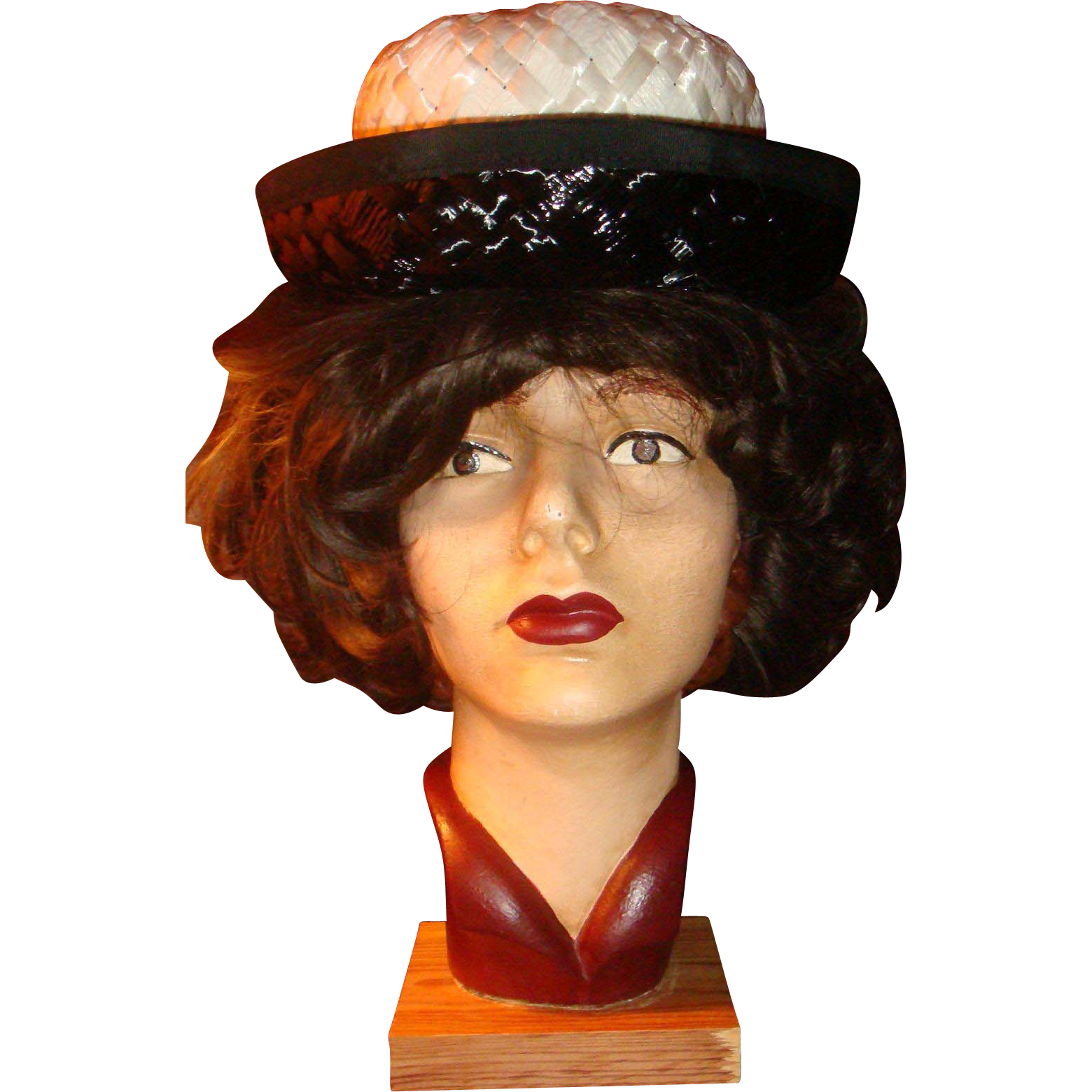 Vintage Boater Style Arlington Hat for Ladies Black White Ribbon Straw