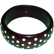 Vintage Lucite Bangle Domed Bracelet Raised White Polka Dots Probably 1960s
