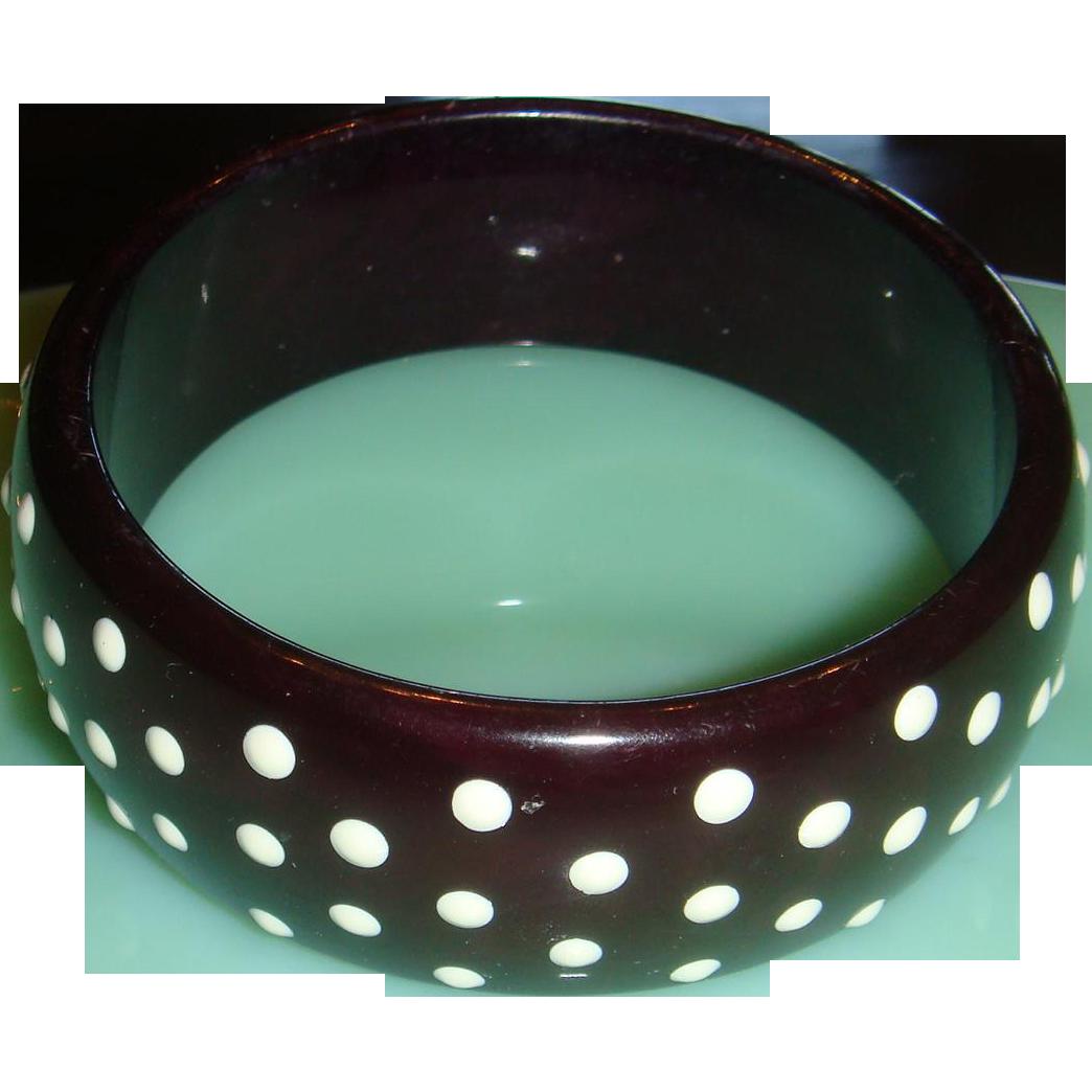 Vintage Lucite Bangle Domed Bracelet Raised White Polka Dots Probably 1960s