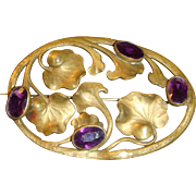 Large Victorian Art Nouveau Lily Pad Brooch Sash Pin Deep Purple Faceted Stones