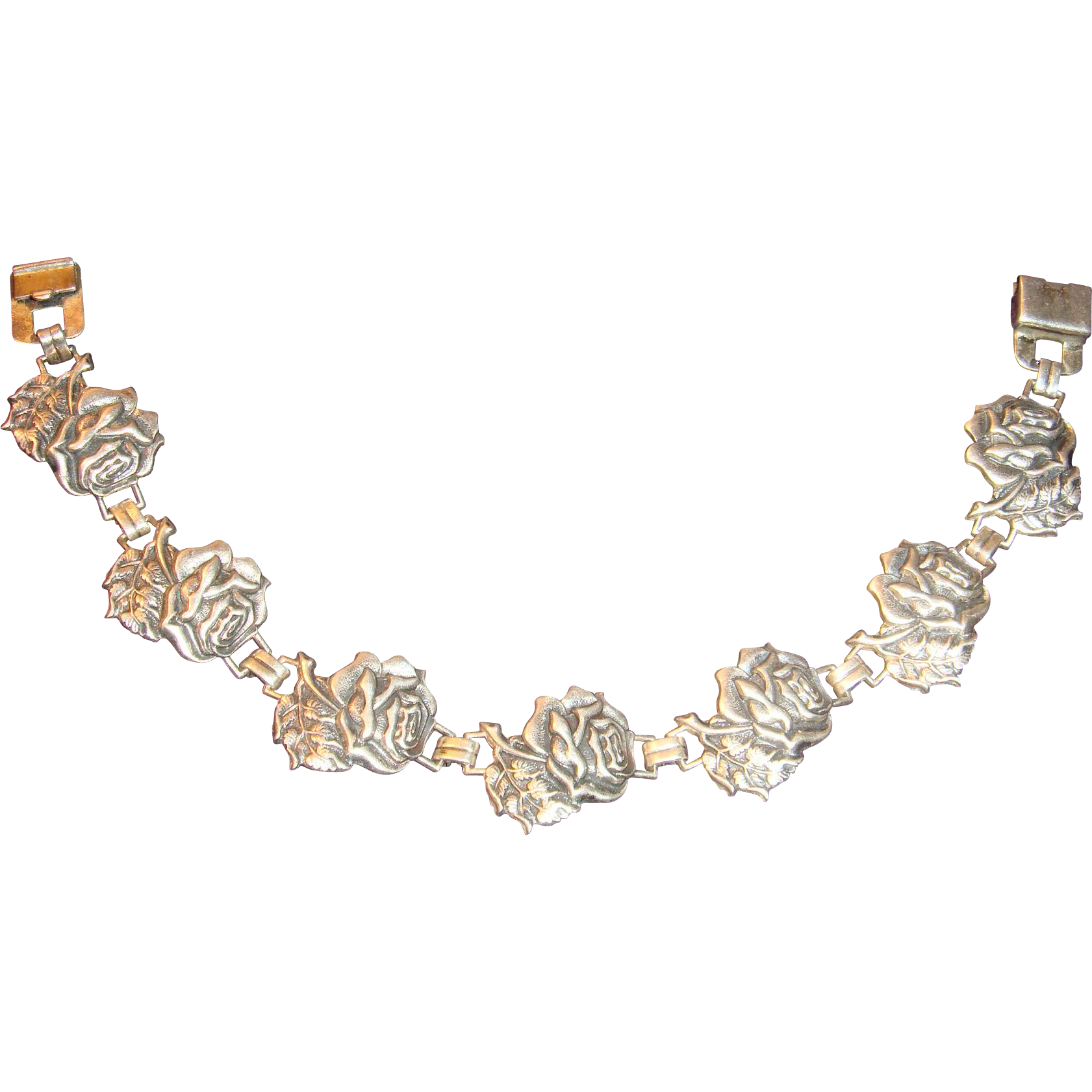 1945 Repousse Patented Sterling Silver 7 Rose Flower Bracelet