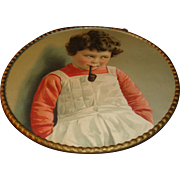 Antique German Flue Cover Adorable Child With Pipe