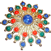 Large 1960's Sarah Coventry Brooch Faux Gemstone Cabochons Dimensional Starburst Design