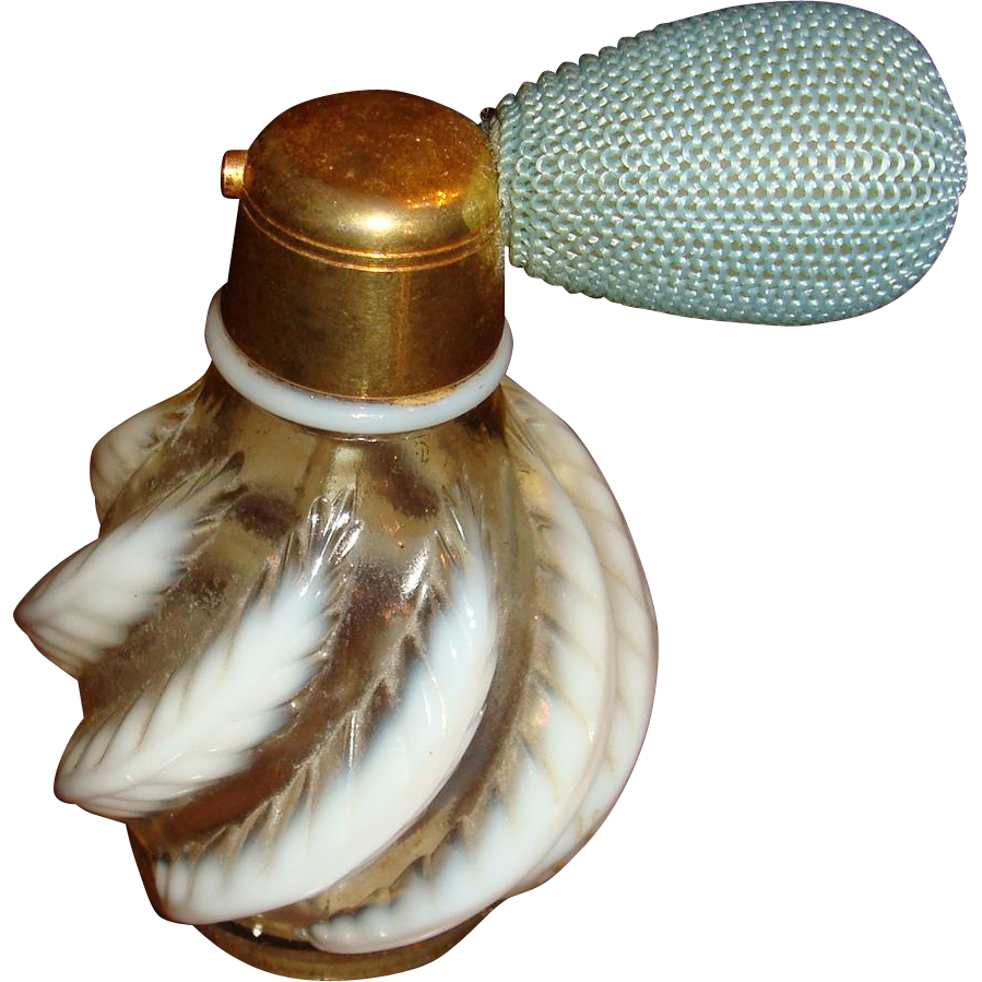 Early Fenton Feather Perfume Bottle Atomizer DeVilbiss KY Estate Opalescent Glass