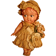 Bride's Flower Girl Molded Hair Early Celluloid Googly Eyes Doll All Paper Clothes, Hat, Flowers Gold Painted Shoes, Japan