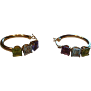 Gorgeous 14 K Gold Lever Back Earrings 3 Prong Set Gemstones