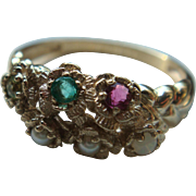 10K Gold Multi Gemstone and Pearl Ring LGB Balfour