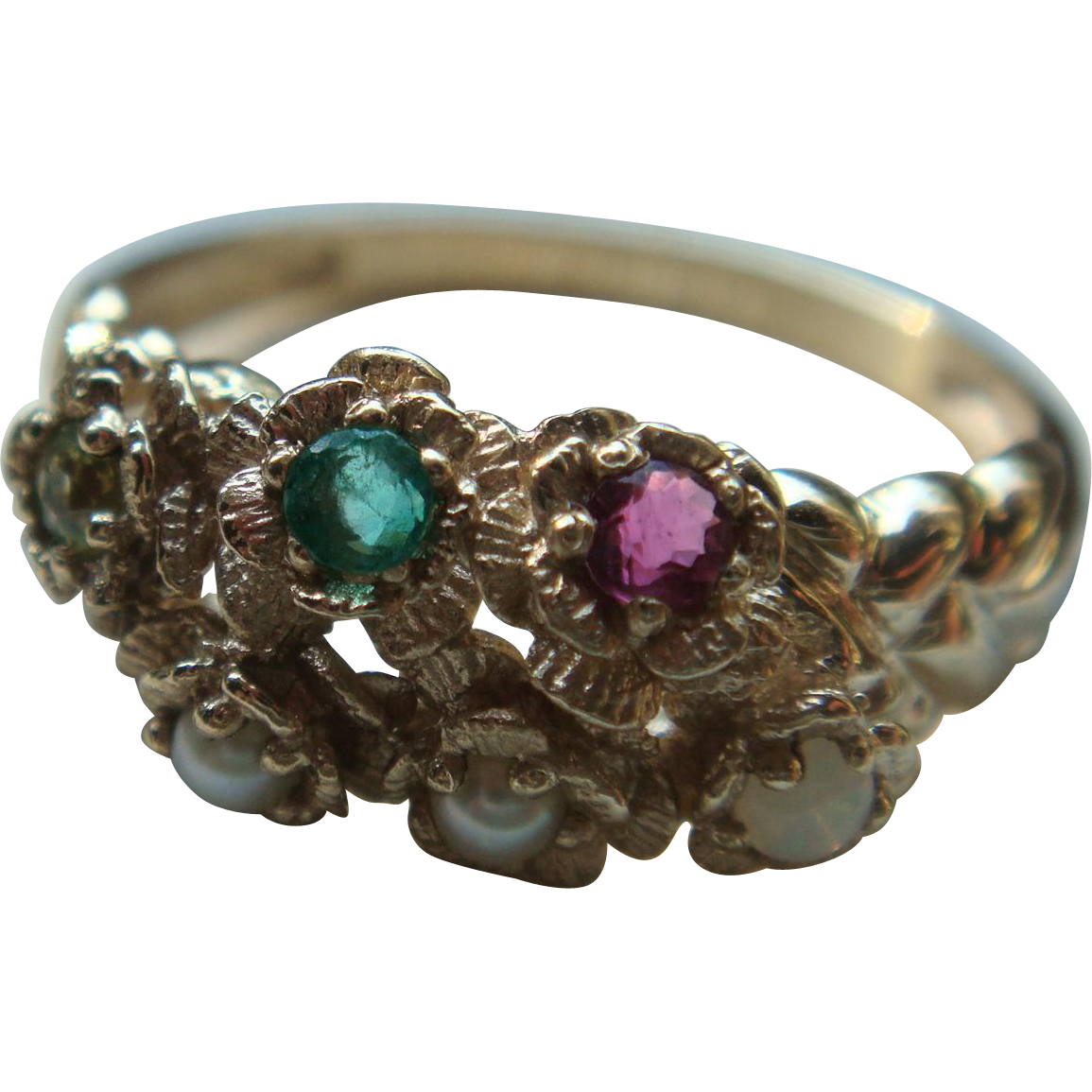10K Gold Multi Gemstone and Pearl Ring