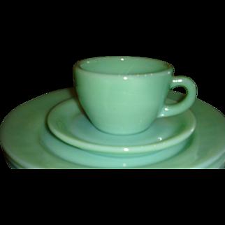 Fire King Heavy Restaurantware Jadite Cup and Saucer Set(s)