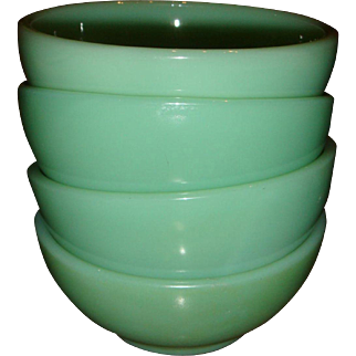 4 Fire King Jadite 5 Inch Chili Bowls Oven Ware, Fire King Glass